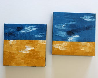 Winter landscape painting - Horizons series - abstract landscape - set of two - sky and field