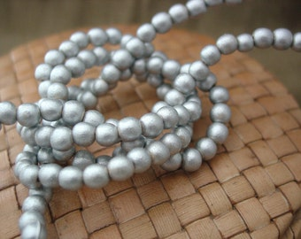 6 or 8 or 12 mm Round Wood Beads, Metallic Silver Color, 15 inch strand