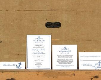 Calligraphy Anchor Wedding Invitations, Vintge Nautical Wedding Invitation,Destination Wedding Invitations,Yacht Club Wedding Invitation