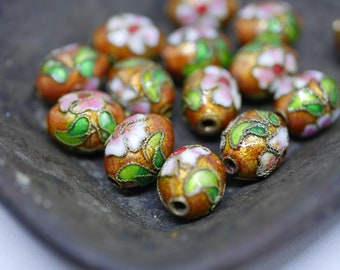 Chinese Cloisonne Beads 12x8mm Oval Copper Cloisonne Bead Enamel Beads Metal Beads (6 beads) CL21
