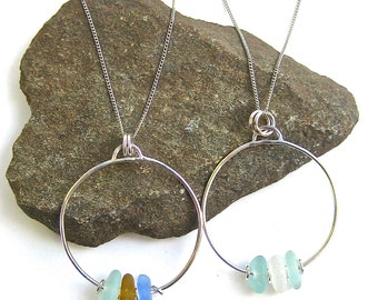 Sea Glass Hoop Necklace | Beach Glass Necklace | Sea Glass Jewelry | Beach Glass Jewelry | Hoop Necklace | Seaglass Necklaces