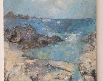 Original acrylic painting entitled 'Blue green pools'
