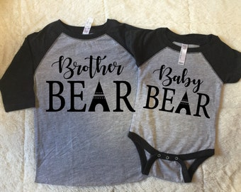 Brother bear and baby bear shirts, Brother and baby bear, children clothing, baby announcement