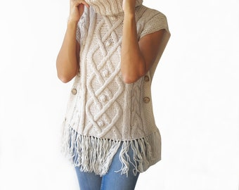 White - Off White Cable Knit Poncho by Afra