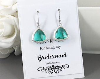 Clearance Bridesmaid Earrings Teal Earrings Peacock Earrings Bridesmaids Jewelry Maid of Honor Bridal Party Gifts for her Wedding