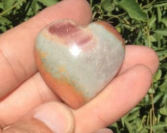 "Polychrome Jasper Heart  Madagascar 1.5"""