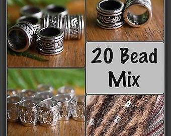 20 Dreadlock Beads Mix - 10 Silver Filigree 7mm & 10 Tibetan Style Silver 7mm Dread Hair Beads