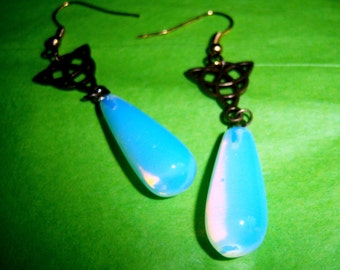Opal ite  Earrings Celtic Drop teardrop renaissance