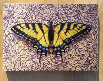 Eastern Tiger Swallowtail : Hand-Embellished Print on Wood