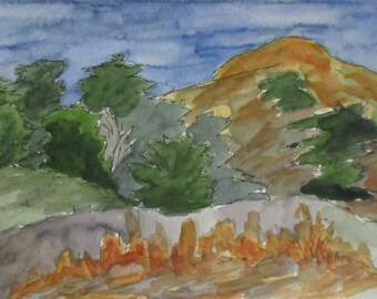 California Painting The Hills of Marin Framed Watercolor Contemporary Expressionist Art Rodero Beach Original Watercolor Kathleen Daughan