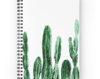 Cactus Notebook, spiral notebook, plant notebook, plant journal, white notebook, cactus journal, green notebook, gift idea