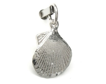Scallop Sea Shell Sterling Silver Charm Pendant N22 Clearance