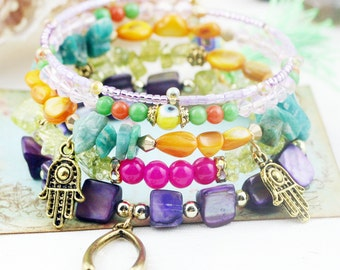 Persian bling 5 tiers bangle (MW revised version) - dyed jade, and amazonite