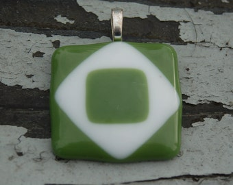 green fused glass pendant