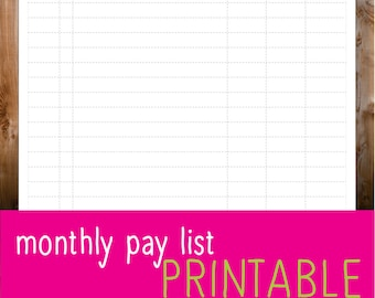 monthly pay list
