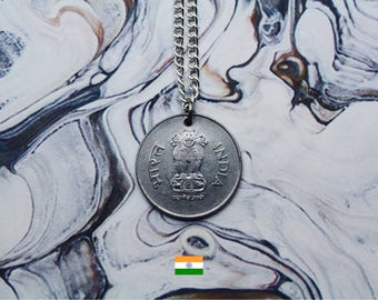 Indian 1 Rupee Handmade Silver Coin Necklace - Silver Plated Chain.