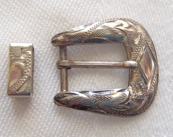 Vintage Belt Buckle Engraved Sterling Silver Fritch Bros.