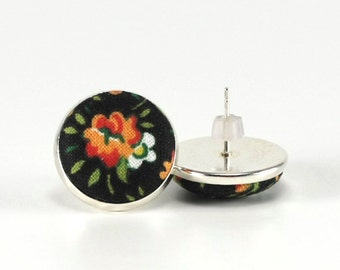 Flower Stud Earrings, Boho Roses, Black Floral Studs, Red Roses Romantic Fabric Buttons Jewelry, Silver Toned Posts