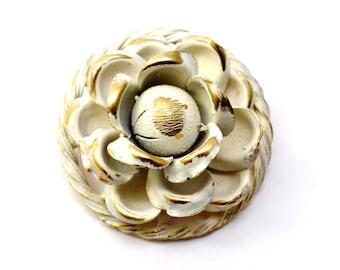 Vintage white brushed enamel gold toned 3 dimensional rose brooch