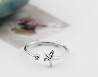 925 Sterling Silver Diamond Star Ring