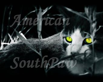 Creepy Cat Green Eyes : Gothic Photography / Halloween - Digital Art Instant Download - Goth Picture Scary Kitty Evil Eyes Wall Art Poste