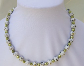 White Round Beads Speckled With Black and Gold Necklace