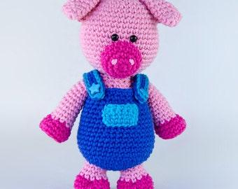 Eddie the Piggy Amigurumi - PDF Crochet Pattern - Instant Download - Amigurumi crochet Animal Cuddy Stuff Plush