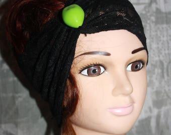 Black elastic lace headband
