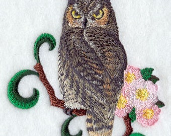 Alberta Great Horned Owl Embroidered Flour Sack Hand/Dish Towel