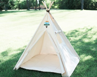 Kids Tent Teepee Tribal Teepee with Window, 2 Sizes Available, Boho Tent, Play Tee Pee, Playhouse, Ready to Ship Fully Assembled