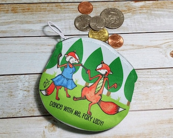 Coin Purse Fox 4x4 Round Dancing Foxes Wallet for Coins Earbuds Gift Cards Makeup Foxy Lady