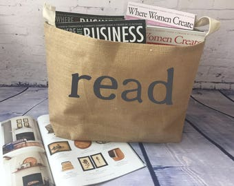 book basket/ burlap storage basket/magazine bin/ newspaper basket/ storage bin/ organization/booknook/book lover gift