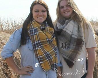 Monogram Blanket Scarf, Oversized Plaid Scarf, Tartan Plaid Scarf, Monogrammed Winter Scarf, Christmas Gift Under 30 Dollars