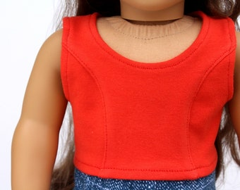 SAMPLE SALE - Fits like American Girl Doll Clothes - Princess Seam Crop Top in Orange | 18 Inch Doll Clothes