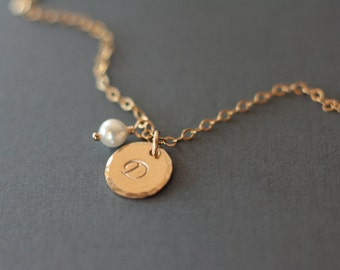 Tiny Gold Initial Birthstone Necklace - Hand Stamped Personalized Jewelry - Mom Mother Grandma