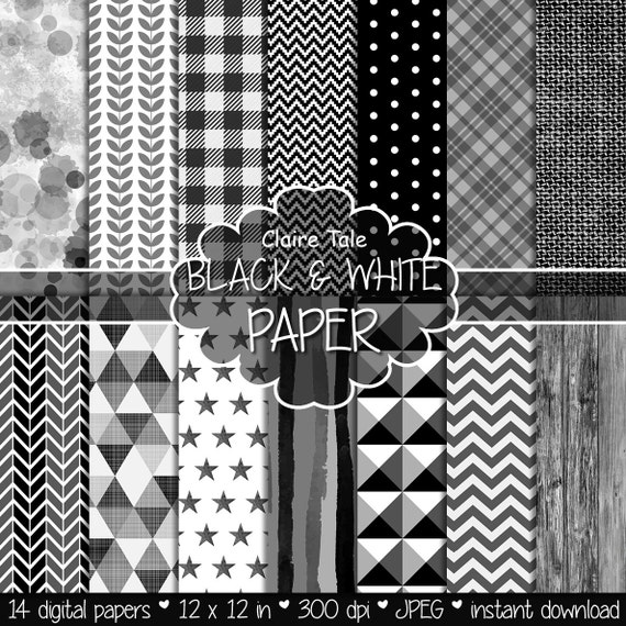 Black and white digital patterns, Black and white digital paper, Black and white scrapbook paper, Black and white printable background