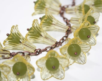 Variegated Yellow Flowers and Green Foliage Bracelet  Copper Link Chain Charm Bracelet