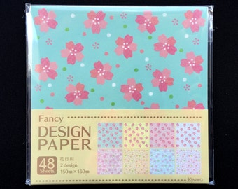 Japanese  Paper - Cherry Blossom Paper - Origami Paper - 2 Patterns  4 Colors 48 Sheets 15 x 15 cm (P26)