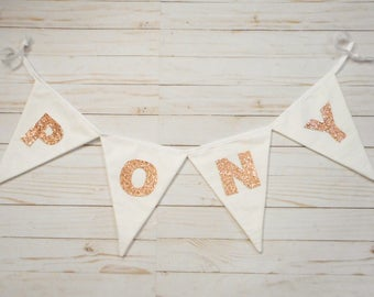 Rose Gold Banner, Name Banner, Custom, Wedding Sign, Birthday Party, Baby Shower, White Triangle Flags, Party Decoration, Rose Gold Letters