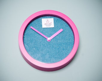 Harris Tweed clock, small wall clock 6 inches - bright colours, hot pink with teal face