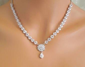 Backdrop Bridal necklace Wedding crystal pearl necklace Statement Bridal Necklace Cubic ziconia necklace vintage Wedding Necklace PIPER