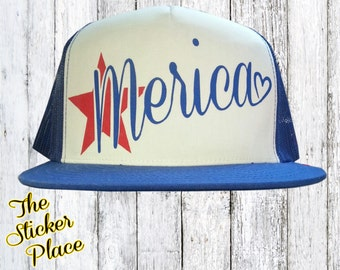 Fourth Of July Hat, Merica Snap Back, Merica Trucker Hat, America Hat, Merica Trucker Hat, Memorial Day Trucker Hat, Custom Trucker Hat