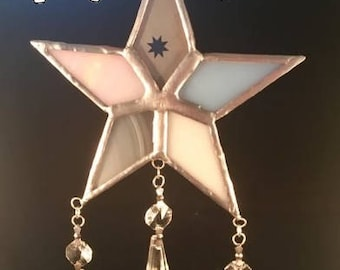 Stained Glass star with chandelier droppers, Stained Glass Star, Stained Glass Suncatcher, Window decoration, star sun catcher