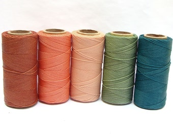 Macrame Cord - Waxed Polyester Thread - Jewelry String - Beading Cord - Set of 5 Spools - 188 yards each - GARDEN