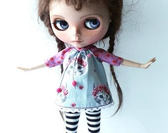 "Handmade Sweet Cotton Summer Mini Dress ""Cats"" for Blythe 1/6"