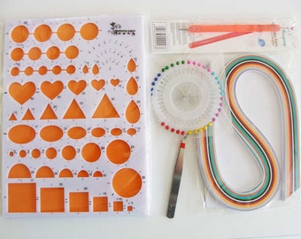Kit 6 pièces pour Quilling comprenant gabarit aiguilles bandes de papier (paperolles)