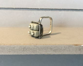 Asymmetrical, square, silver ring with pyrite