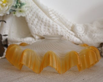 Vintage French Frosted Orange Frilly Glass Ceiling Lampshade