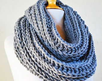 GREY (Or Choose Color) infinity scarf / cowl -- wool blend, chunky, fashion accessories, gray, chunky, scarves - gift