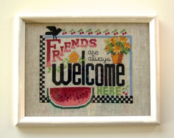 Old Fashioned Welcome Sign Cross Stitch Framed Fiber Art Yellow Flowers Bird Red Cherries Colorful Watermelon Charming Housewarming Gift